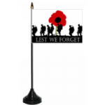 Lest We Forget Army Desk / Table Flag with plastic stand and base
